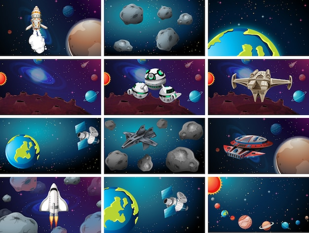 Large space themed scene set Free Vector