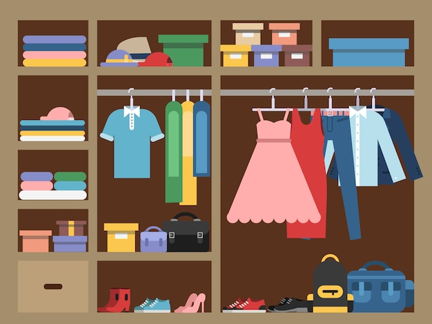 Large wardrobe with different clothes, Premium Vector