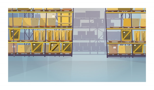 Large warehouse room with boxes on shelves illustration Free Vector