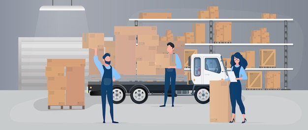 Large warehouse with drawers. movers carry boxes. Premium Vector