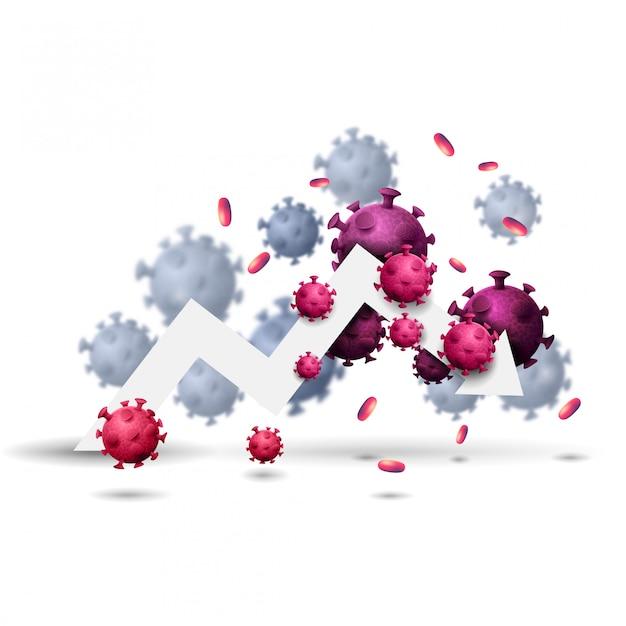 Большая белая стрелка экономического графика в окружении молекул коронавируса Premium векторы