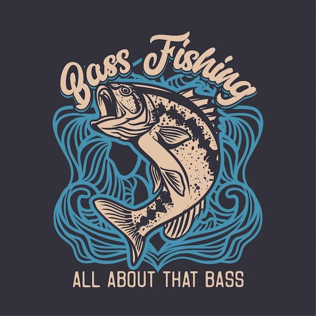 Largemouth бас рыболовный клуб логотип иллюстрация в синем фоне Premium векторы