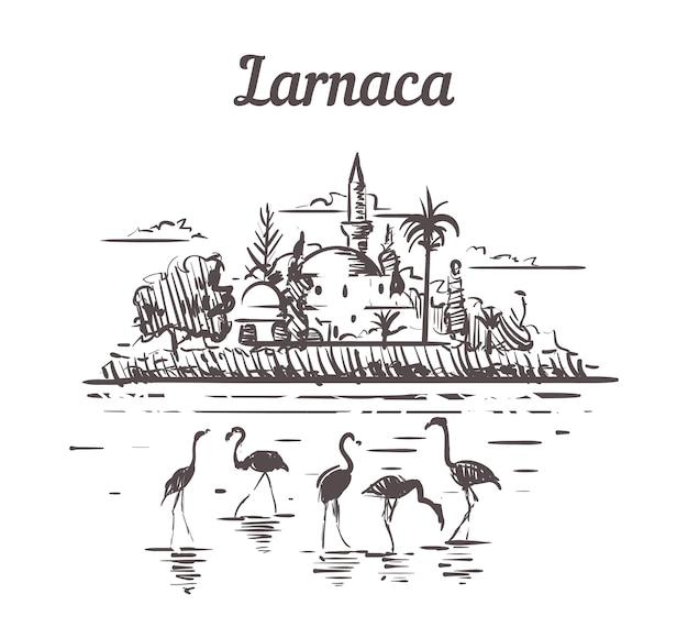 Ларнака, кипр, эскизный пейзаж Premium векторы