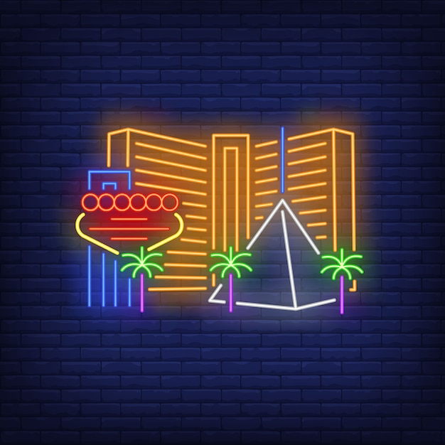 Las vegas city buildings and landmarks neon sign. sightseeing, tourism, casino. Free Vector