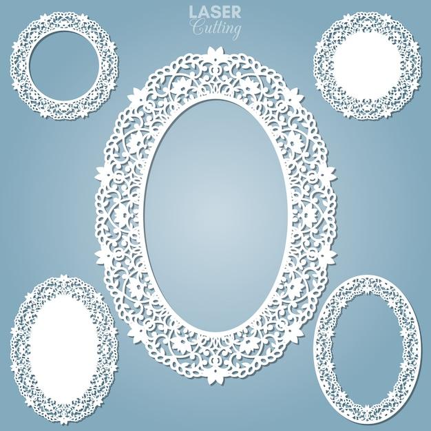 Лазерная резка абстрактные овальные рамки с завитками, орнамент, винтажная рамка. может использоваться для лазерной резки. рамки для фотографий с кружевом для резки бумаги. Premium векторы