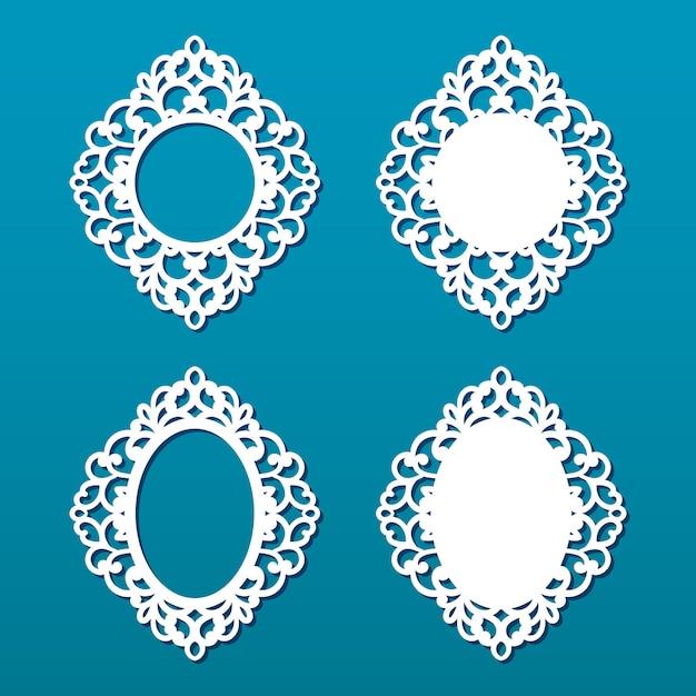 Лазерная резка коллекции кадров. набор абстрактных овальные и круглые рамки с завитками, орнамент, винтажная рамка. может использоваться для лазерной резки. рамки для фотографий с кружевом для резки бумаги. Premium векторы