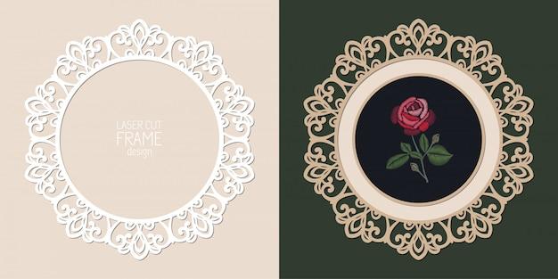 Laser cut lace round frame, template. ornamental cutout photo frame Premium Vector