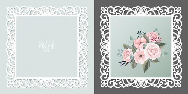 Laser cut lace square frame, template. ornamental cutout photo frame Premium Vector