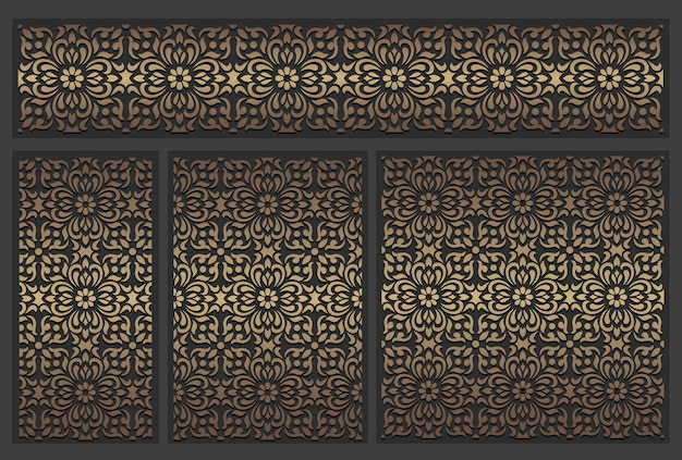 Лазерная резка панелей. богато украшенный старинный шаблон границы. Premium векторы