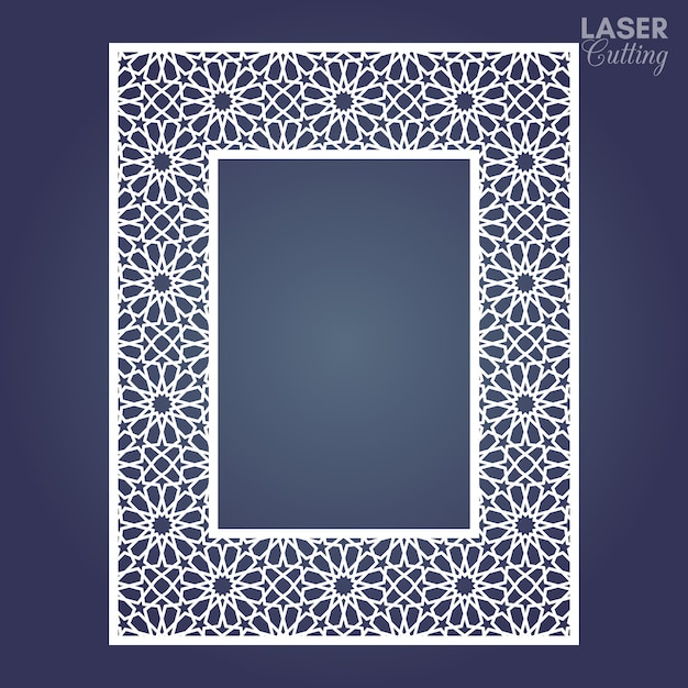 Рамка из бумаги с лазерной резкой, декоративная фоторамка с арабским орнаментом. Premium векторы