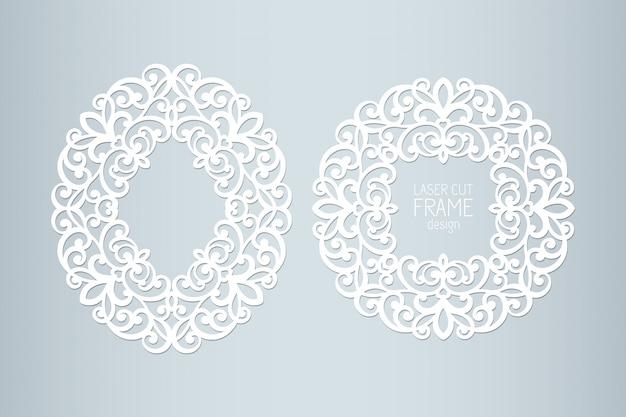 Рамки шнурка отрезка лазера бумажные, иллюстрация. декоративная фоторамка выреза, шаблон для нарезки. элемент для свадебного приглашения и открытки. Premium векторы
