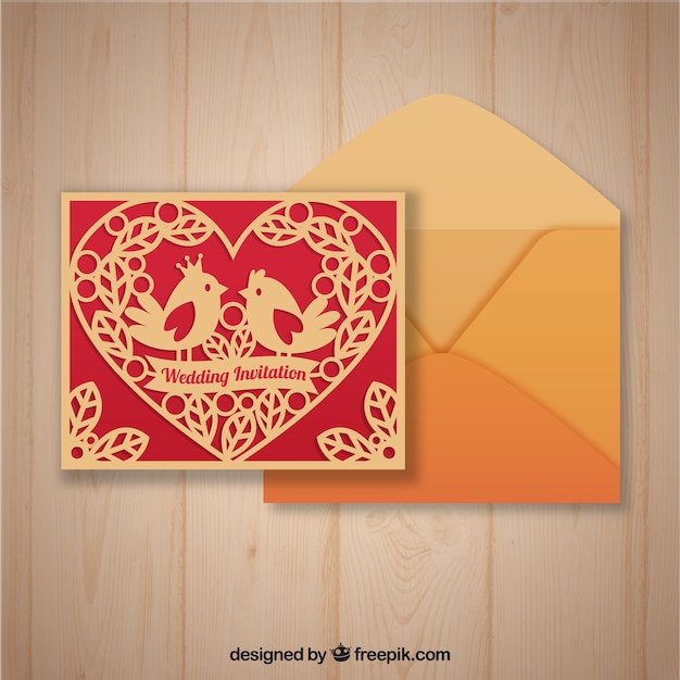 Laser cut template and envelope with flat design Vector | Free Download