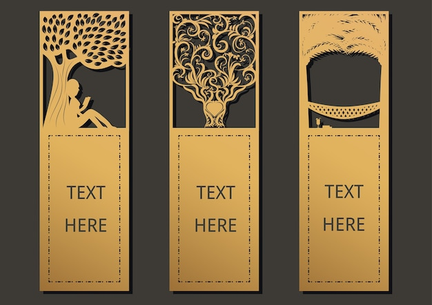 Laser cut template frame for greeting card, bookmark. Premium Vector