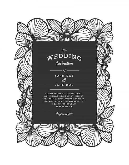 Laser cut vector wedding invitation with orchid flowers for decorative panel. Premium Vector