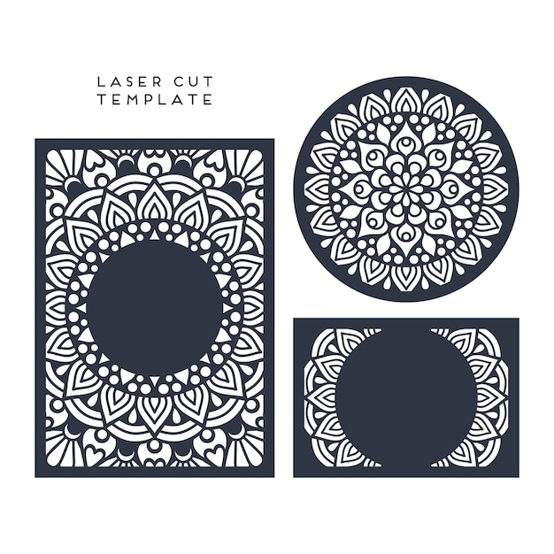 Laser cut wedding card template Vector | Free Download
