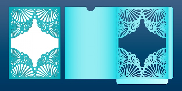 Laser cut wedding invitation card template in marine style ...