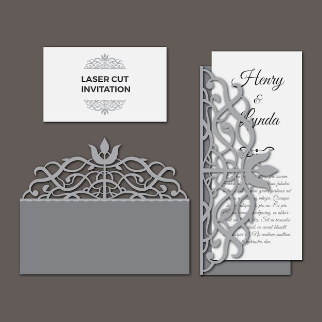 Laser cut wedding invitation set Vector | Free Download