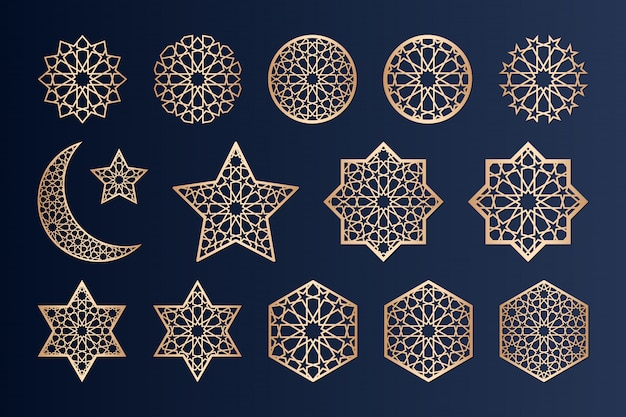 Laser cutting elements with islamic   pattern. Premium Vector