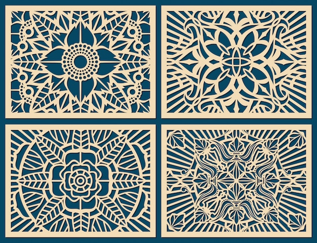 Laser cutting wall pattern canvas vector template panel Premium Vector