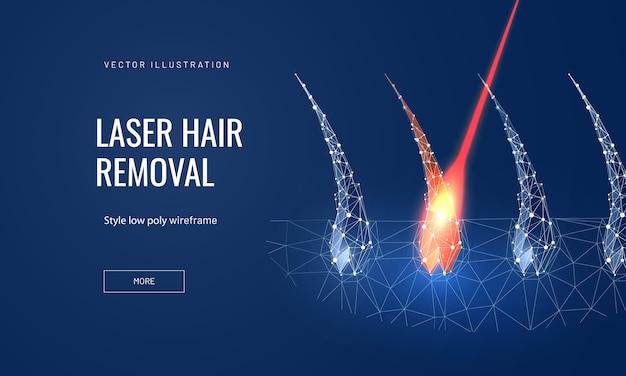 Концепция лазерной эпиляции в многоугольном футуристическом стиле для целевой страницы Premium векторы