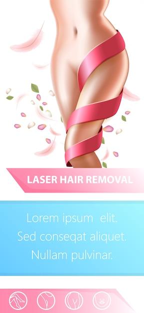 Laser hair removal procedure flyer Premium Vector