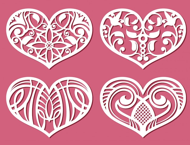 Laser printing romantic lacy wedding hearts Premium Vector