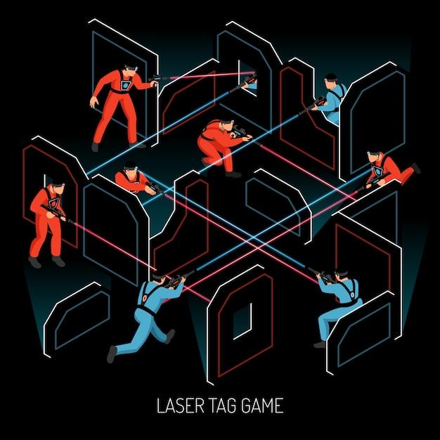 レーザータグリアルアクション子供チームゲーム等尺性組成物の赤外線敏感なターゲットベクトル図を発射するプレーヤーと 無料ベクター