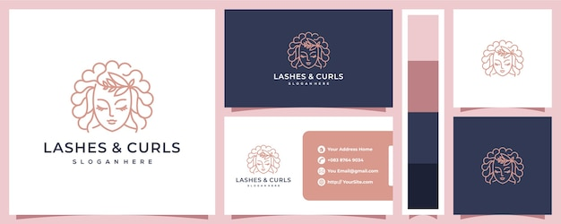 Lashes & curls luxury logo with business card concept Premium Vector