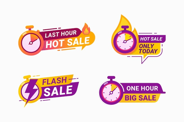 Last hour offer hot sales badge limited time Premium Vector