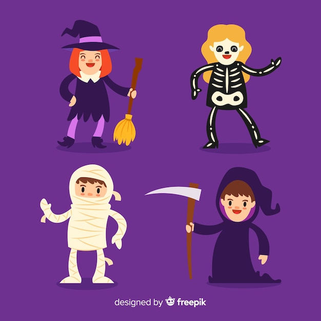 Lat design of halloween kid collection in flat design Free Vector