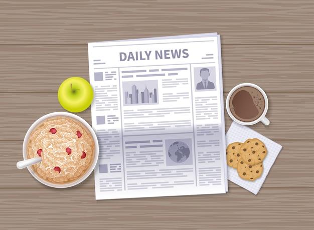 아침에 최신 뉴스. 나무 테이블에 매일 신문입니다. 귀리 플레이크, 사과, 커피, 초콜릿 쿠키. 프리미엄 벡터
