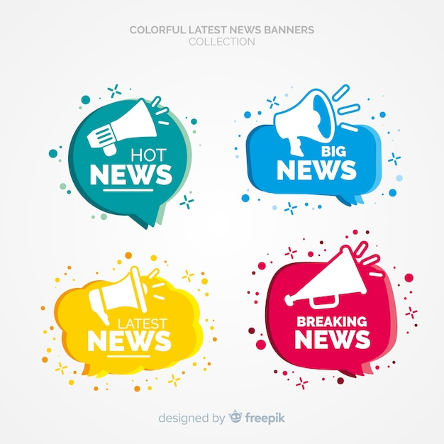 Latest news banner collection Free Vector