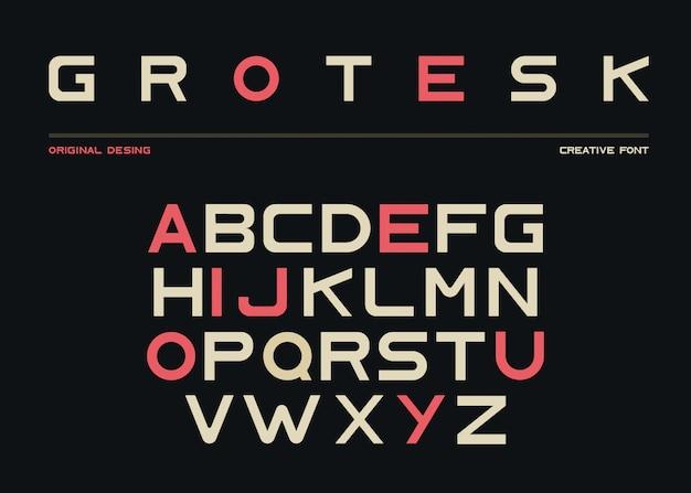 Latin alphabet, sans serif font in grotesk style Free Vector