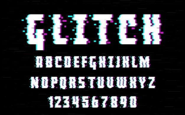Latin alphabet. trendy style distorted glitch typeface. letters and numbers vector illustration. for your design Premium Vector