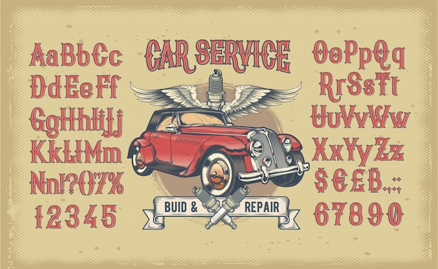 Latin alphabet with numbers and retro car Free Vector