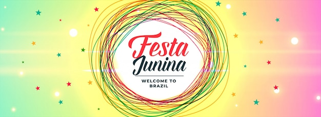 Latin american festa junina vibrant banner Free Vector