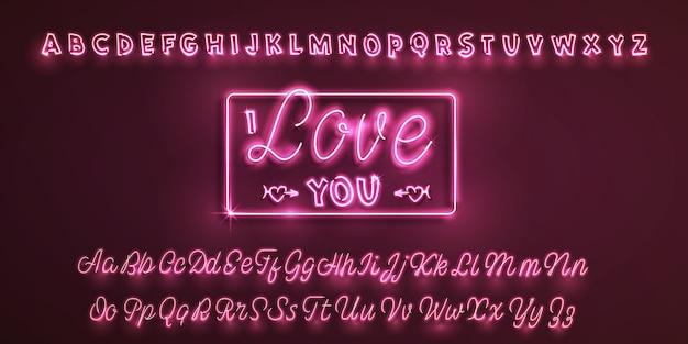 Latin neon font i love you Premium Vector