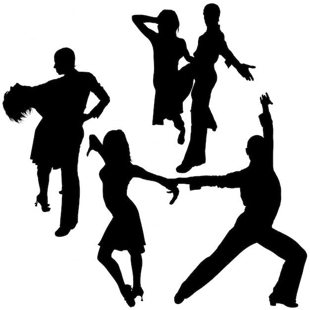 Latino dance silhouettes Premium Vector