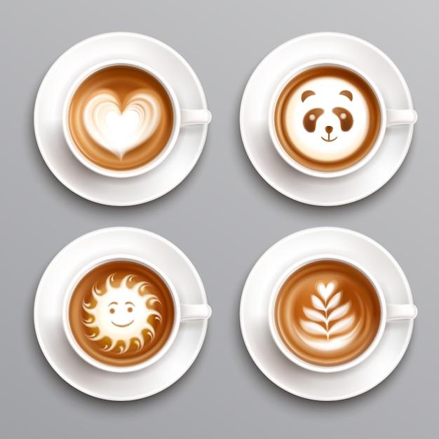 Latte coffee art set Free Vector