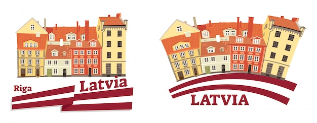 Латвийская национальная и традиционная архитектура с флагом Premium векторы
