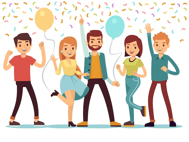 Laughing and dancing young people at party. Premium Vector