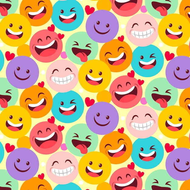 Laughing emoticons pattern template Premium Vector