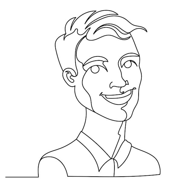 웃는 남자 초상화 한 라인 아트. 행복한 남성 표정. 손으로 그린 선형 남자 실루엣. 프리미엄 벡터