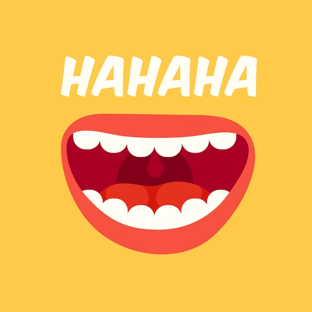 Laughing mouth Premium Vector