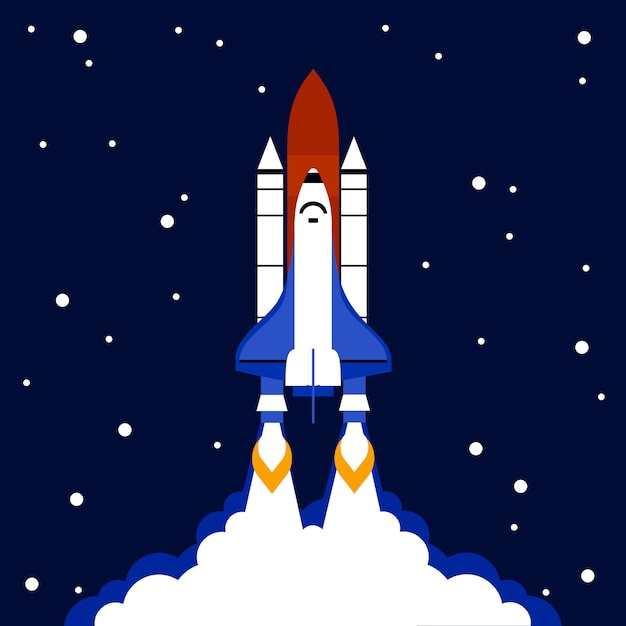 Launch concept space rocket background Free Vector