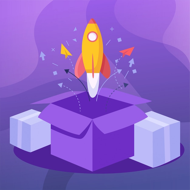 Launch The Product Rocket Vector