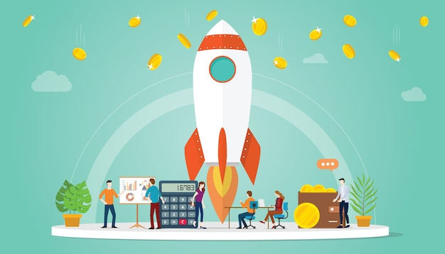 Launch startup business concept with rocket and some financial business money Premium Vector