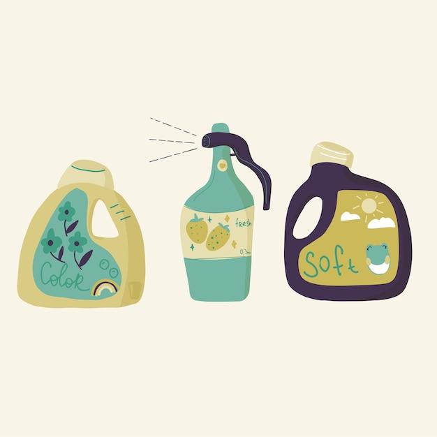 Бутылка и коробка для стирки и чистки, мыло, смягчитель и спрей для очистки Premium векторы