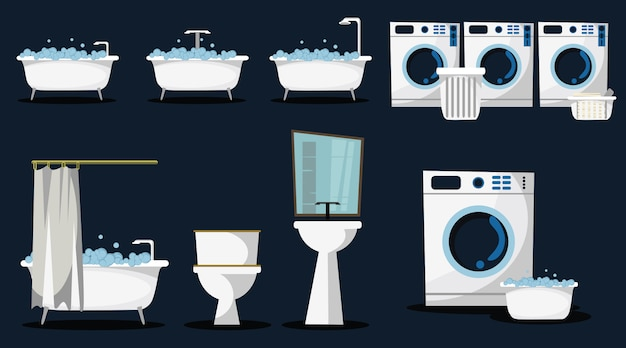 Laundry and bath set vector illustration Premium Vector