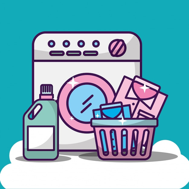 Illustrazione di pulizia della lavanderia con lavatrice Vettore gratuito